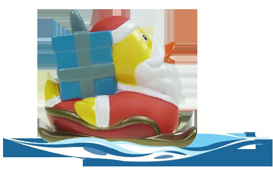 Badeente Santa mit Schlitten